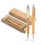 Conjunto de Caneta Esferográfica e Lapiseira de Bambu